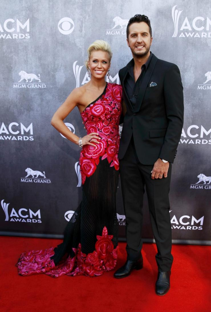 Musician Luke Bryan and his wife Caroline Boyer arrive at the 49th Annual Academy of Country Music Awards in Las Vegas
