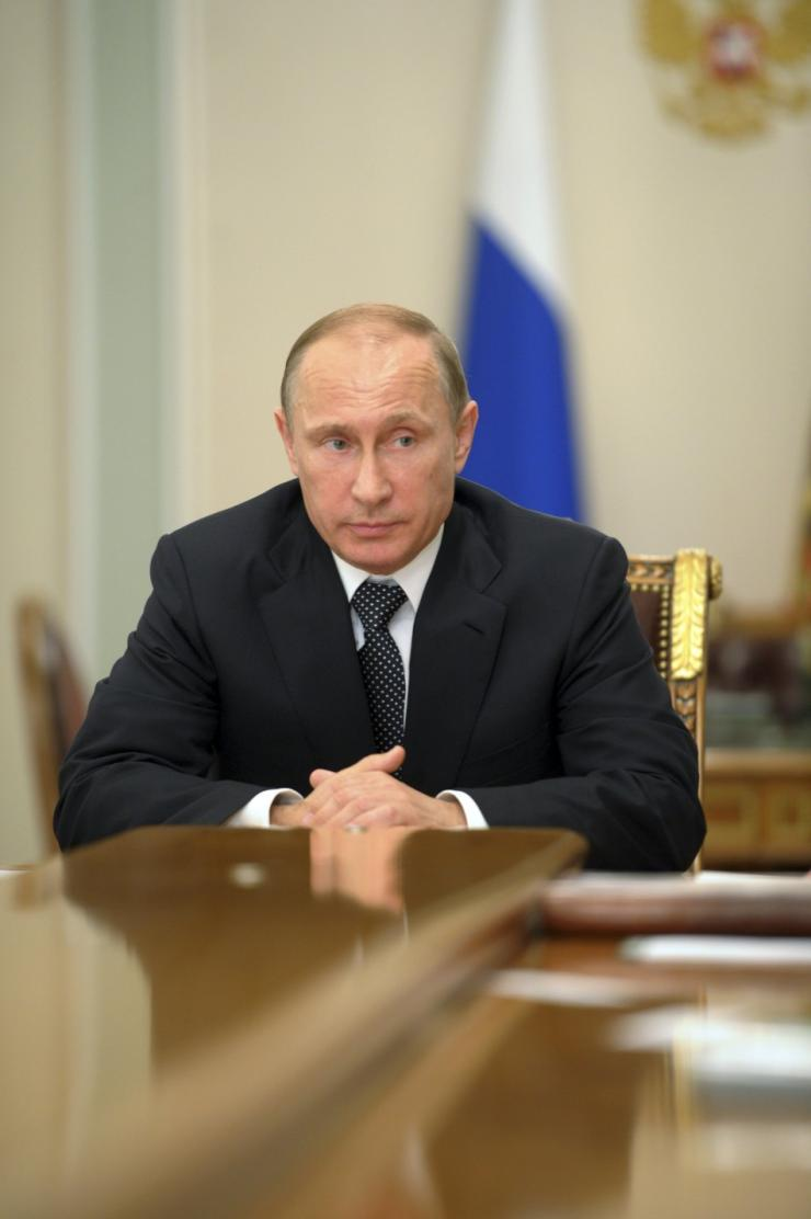 Russia's President Vladimir Putin chairs a meeting at the Novo-Ogaryovo state residence outside Moscow