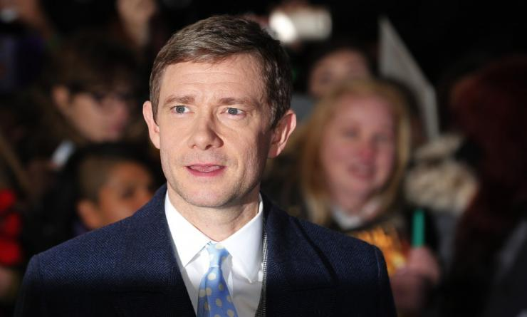 "Cast member Martin Freeman poses for photographers as he arrives for the world film premiere of ""The Hobbit: The Battle of the Five Armies"""