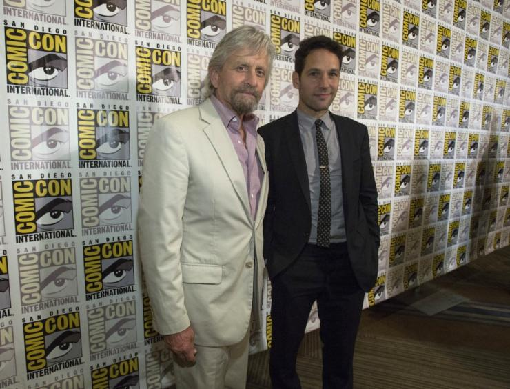 "Cast members Michael Douglas (L) and Paul Rudd pose at a press line for the movie ""Ant-Man"""