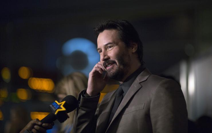 "Cast member Keanu Reeves is interviewed at a special screening of ""John Wick"" in Los Angeles, California October 22, 2014. The movie opens in the U.S. on October 24."