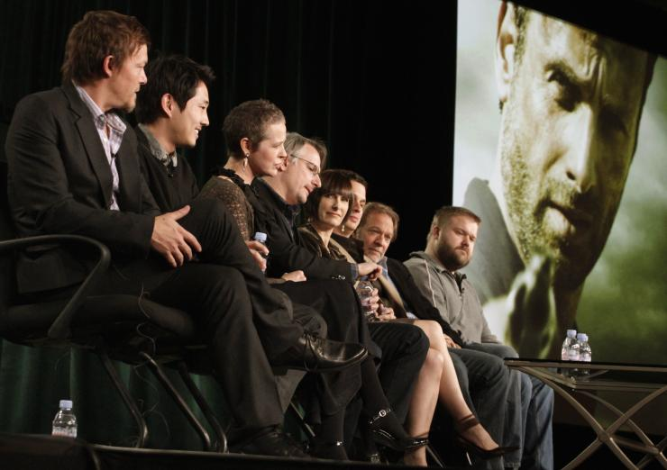 "IN PHOTO: Cast members and producers of ""The Walking Dead"" take part in a panel discussion at AMC's TCA Winter Press Tour in Pasadena, California, January 14 2012."
