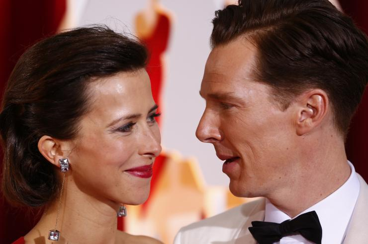 "[9:24] Benedict Cumberbatch, best actor nominee for his role in ""The Imitation Game,"" and his wife Sophie Hunter arrive at the 87th Academy Awards"