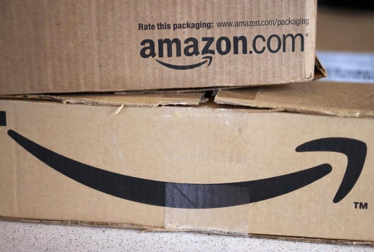 Two freshly delivered Amazon boxes are seen on a counter in Golden, Colorado August 27, 2014.
