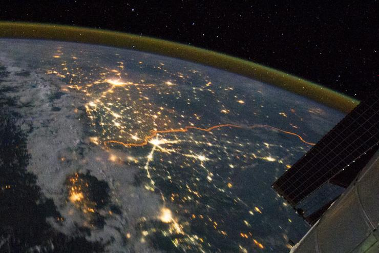 India-Pakistan border from space