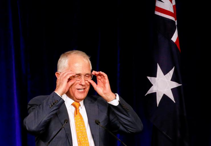 Australian Prime Minister Malcolm Turnbull reacts as he speaks during an official function for the Liberal Party during the Australian general election in Sydney, Australia, July 3, 2016.