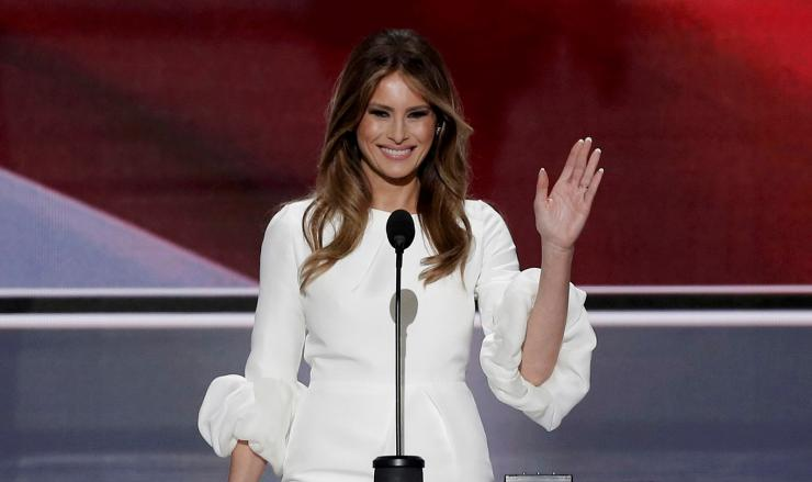Melania Trump, wife of Republican U.S. presidential candidate Donald Trump, waves as she arrives to speak at the Republican National Convention in Cleveland, Ohio, U.S. July 18, 2016.