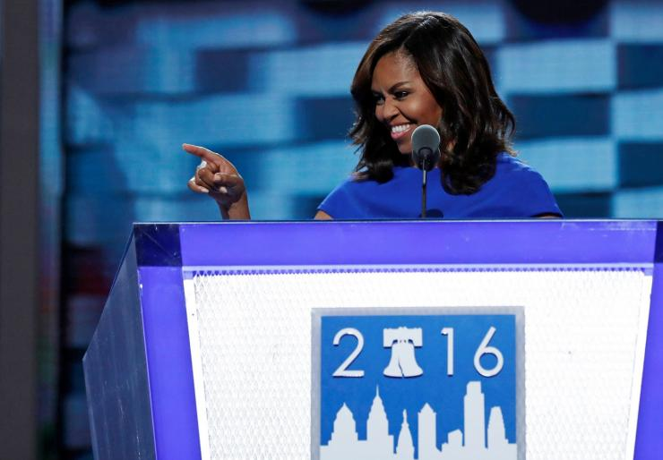 U.S. first lady Michelle Obama speaks at the Democratic National Convention in Philadelphia, Pennsylvania, U.S. July 25, 2016.