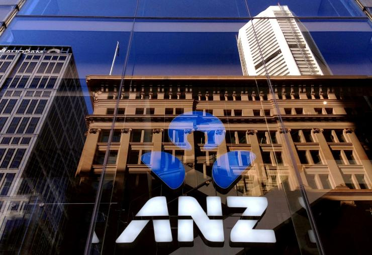 The logo of the ANZ Banking Group is displayed in the window of a newly opened branch in central Sydney, Australia, Aprl 30, 2016.