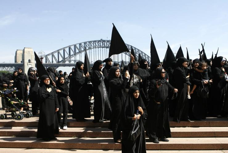 Shi'ite Muslim women attend an Ashura procession in central Sydney January 7, 2009.