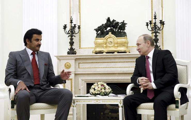 FILE PHOTO: Russia's President Vladimir Putin meets with Qatar's Emir Sheikh Tamim Bin Hamad Al-Thani in Moscow, Russia, January 18, 2016.