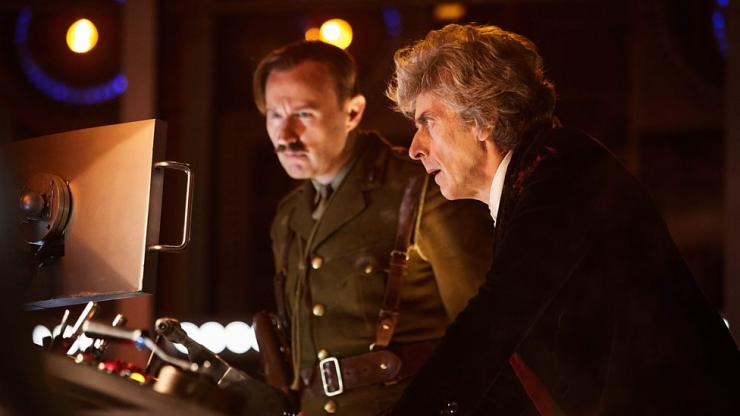 "Mark Gatiss as the Captain and Peter Capaldi as the Doctor in ""Doctor Who"" Christmas Special ""Twice Upon a Time"""