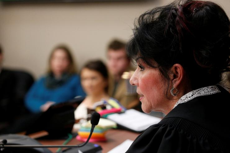 Circuit Court Judge Rosemarie Aquilina delivers a sentence to Larry Nassar,