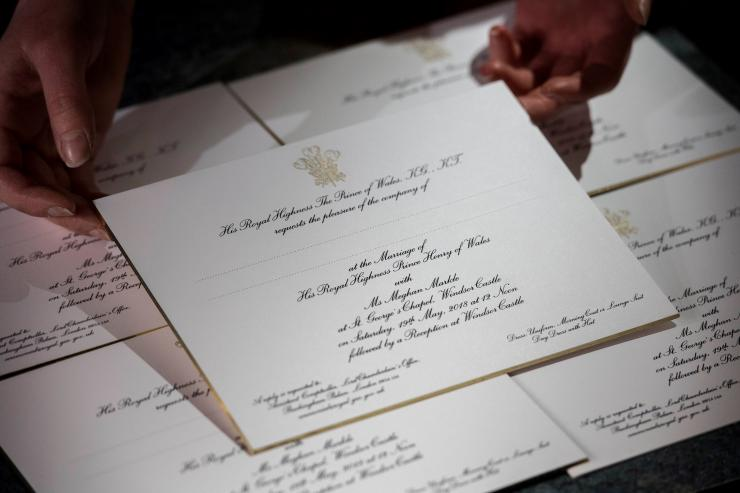 Invitations for Britain's Prince Harry and Meghan Markle's wedding in Windsor Castle in May, are seen after they have been printed at the workshop of Barnard and Westwood in London, March 22, 2018.