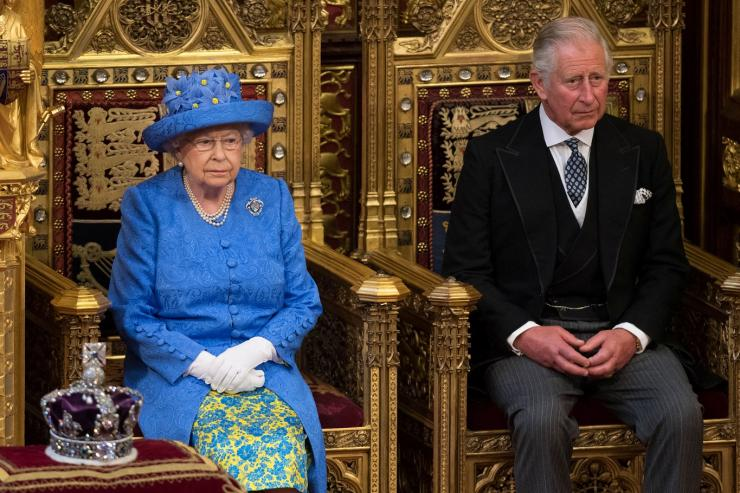 Britain's Queen Elizabeth sits next to Prince Charles during the State Opening of Parliament in central London, Britain June 21, 2017.