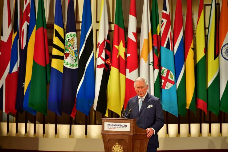 Britain's Prince Charles speaks during the formal opening of the Commonwealth Heads of Government Meeting in the ballroom at Buckingham Palace in London, Britain, April 19, 2018.