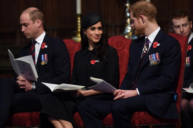 Britain's Prince William, Prince Harry and his fiancee Meghan Markle attend a Service of Thanksgiving and Commemoration on ANZAC Day at Westminster Abbey in London, Britain, April 25, 2018.