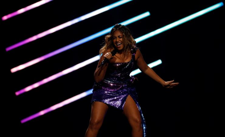 "Australia's Jessica Mauboy performs ""We Got Love"" during the Grand Final of Eurovision Song Contest 2018 at the Altice Arena hall in Lisbon, Portugal, May 12, 2018."