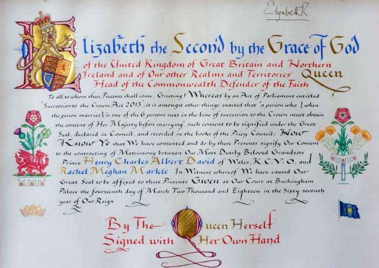The Instrument of Consent by Queen Elizabeth II for the upcoming marriage of Prince Harry and Meghan Markle