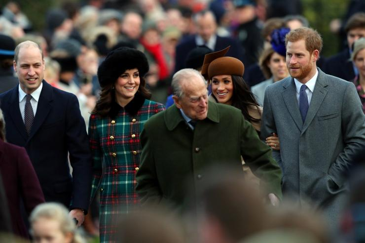 Britain's Prince William, Catherine, Duchess of Cambridge, Prince Harry and Meghan Markle and Prince Philip