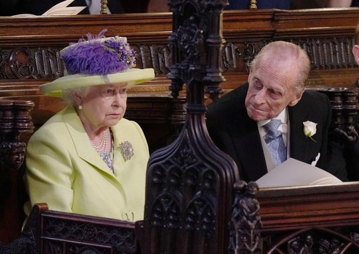 Queen Elizabeth II and Prince Phillip during the wedding service for Prince Harry and Meghan Markle at St George's Chapel, Windsor Castle in Windsor, Britain, May 19, 2018.