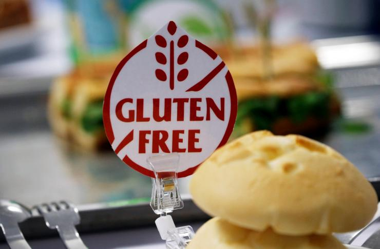 A gluten-free sticker is displayed near sandwiches in Colomiers near Toulouse, France, December 13, 2017.