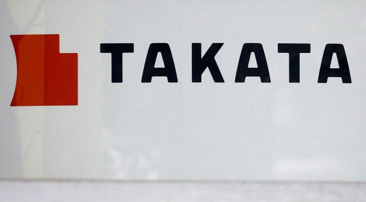 The logo of Takata Corp is seen on its display at a showroom for vehicles in Tokyo, Japan, February 9, 2017. Picture taken February 9, 2017.