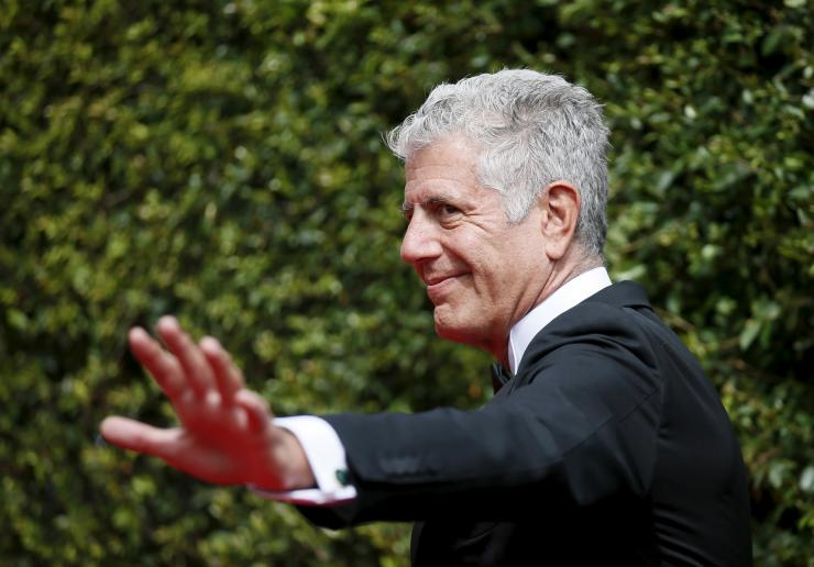Chef Anthony Bourdain poses at the 2015 Creative Arts Emmy Awards in Los Angeles, California September 12, 2015.