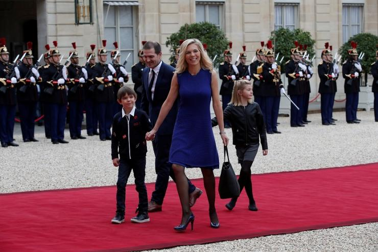 Laurence Auziere Jourdan, daughter of Brigitte Trogneux, her husband Guillaume and their children