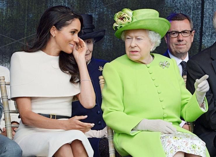 Britain's Queen Elizabeth and Meghan The Duchess Of Sussex attend the opening of the Mersey Gateway Bridge in Runcorn, June 14, 2018.