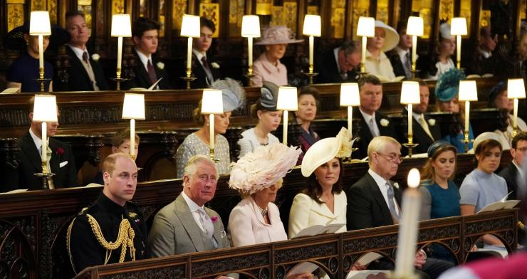 (Left to right) The Duke of Cambridge, the Prince of Wales, the Duchess of Cornwall, the Duchess of Cambridge, the Duke of York, Princess Beatrice, Princess Eugenie sittin