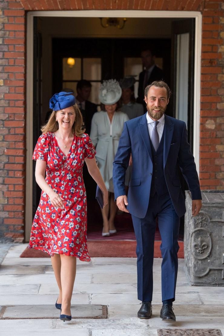 James Middleton and Lady Laura Marsham arrive for the christening of Prince Louis, the youngest son of the Duke and Duchess of Cambridge at the Chapel Royal, St James's Palace, London, Britain, July 9, 2018.