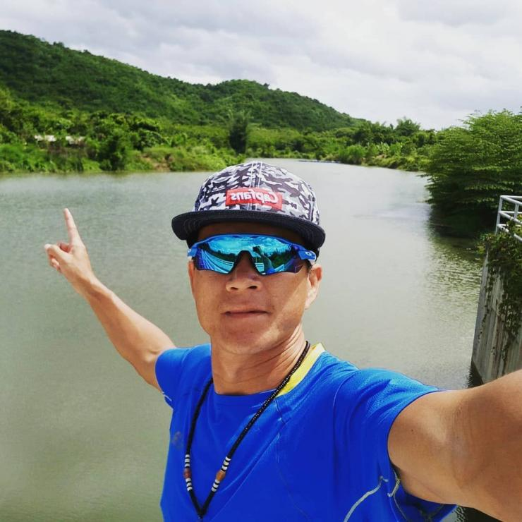 Samarn Kunan takes a selfie in unidentified location, Thailand, in this undated image obtained from social media.