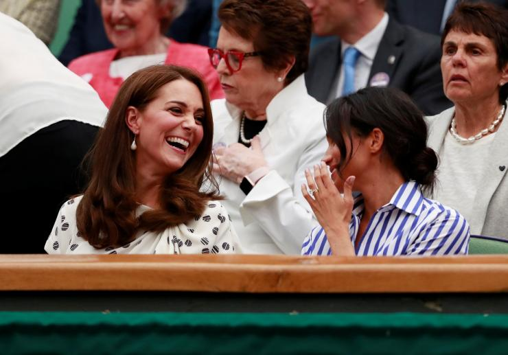 Britain's Catherine the Duchess of Cambridge and Meghan the Duchess of Sussex