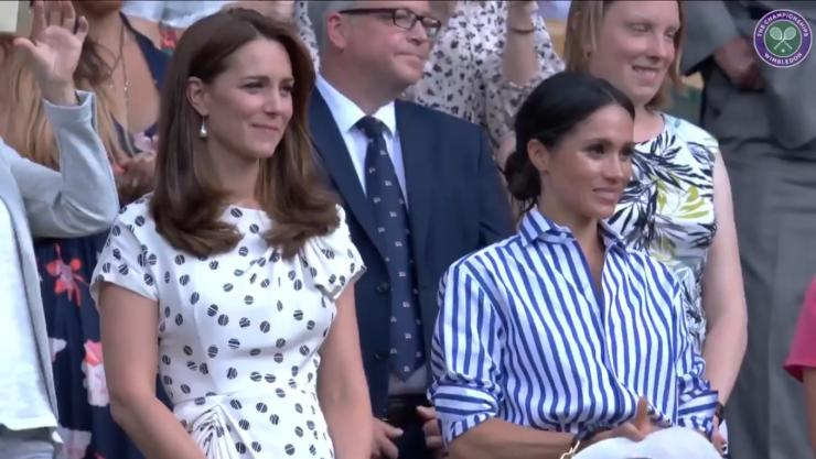 Catherine, Duchess of Cambridge, and Meghan, Duchess of Sussex, listen to Serena Williams' inspiring speech after the American tennis player's loss to German Angelique Kerber. July 14, 2018, Wimbledon.