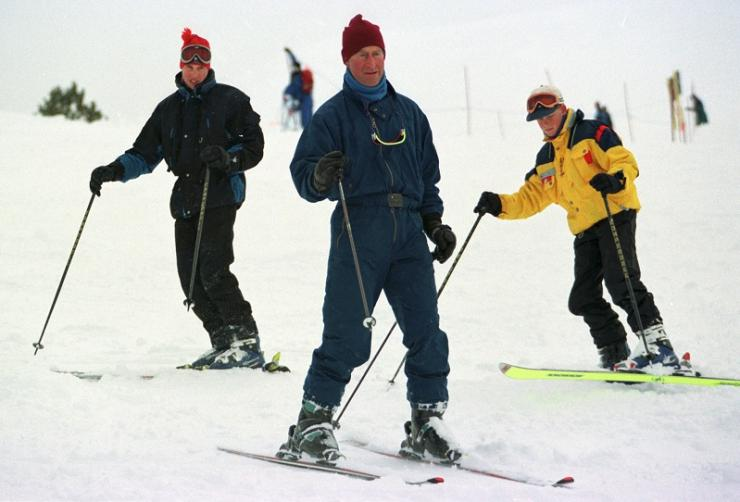 Britain's Prince Charles (C) and his sons Prince William (L) and Prince Harry ski down Whistler Mountain, during their spring break vacation March 26 at Whistler.
