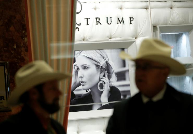 People stand outside the Ivanka Trump shop inside Trump Tower in New York City, New York, U.S., April 25, 2017. Picture taken April 25, 2017.