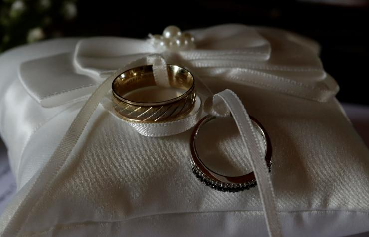 Wedding rings are seen before a wedding in a catholic church in Heredia, Costa Rica May 20, 2018.
