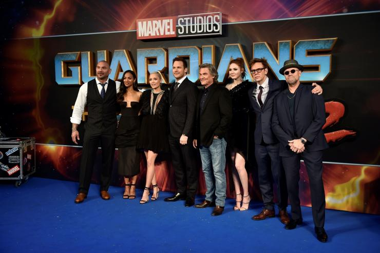 ave Bautista, Zoe Saldana, Pom Klementieff, Chris Pratt, Kurt Russell, Karen Gillan, director James Gunn and Michael Rooker