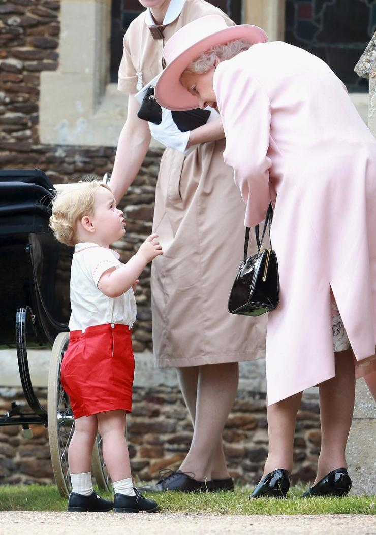 Prince George of Cambridge talks to Queen Elizabeth