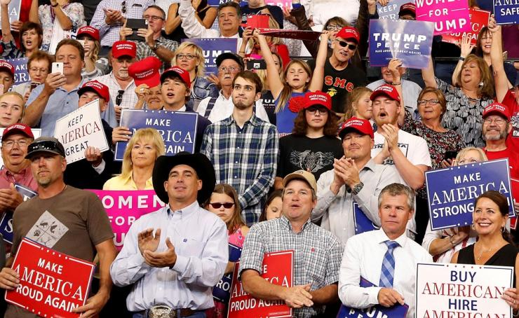 Plaid shirt guy at Donald Trump's rally