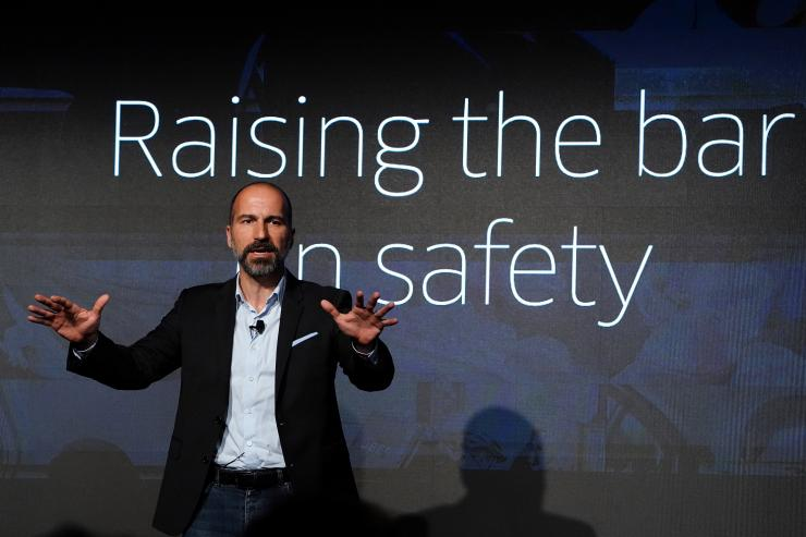 The Chief Executive Officer (CEO) of ride-sharing app Uber Dara Khosrowshahi pictured on stage during an event in New York City, New York, U.S., September 5, 2018.