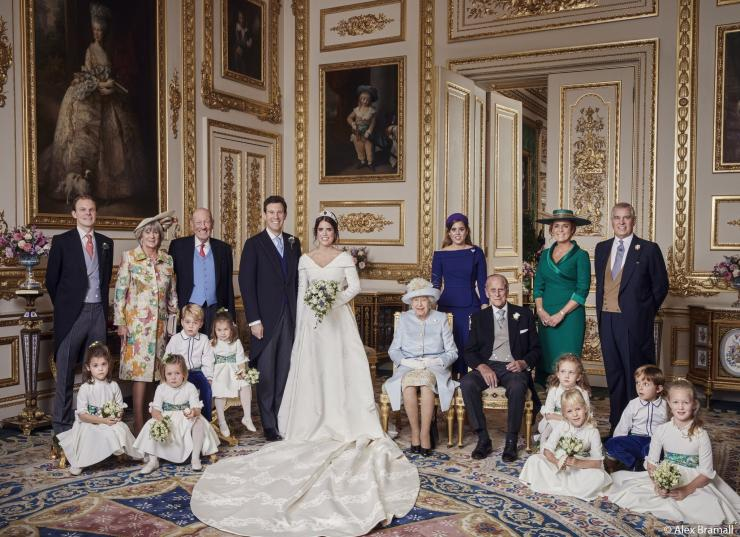 Princess Eugenie and Jack Brooksbank's families and wedding party at Windsor Castle on Oct. 12, 2018.