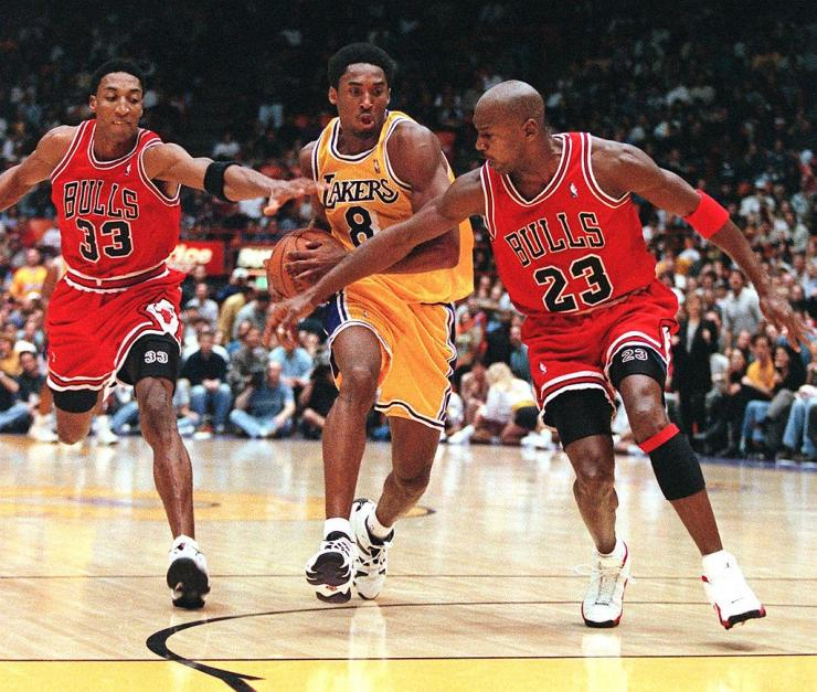 Scottie Pippen, Michael Jordan - Chicago Bulls; Kobe Bryant - Los Angeles Lakers