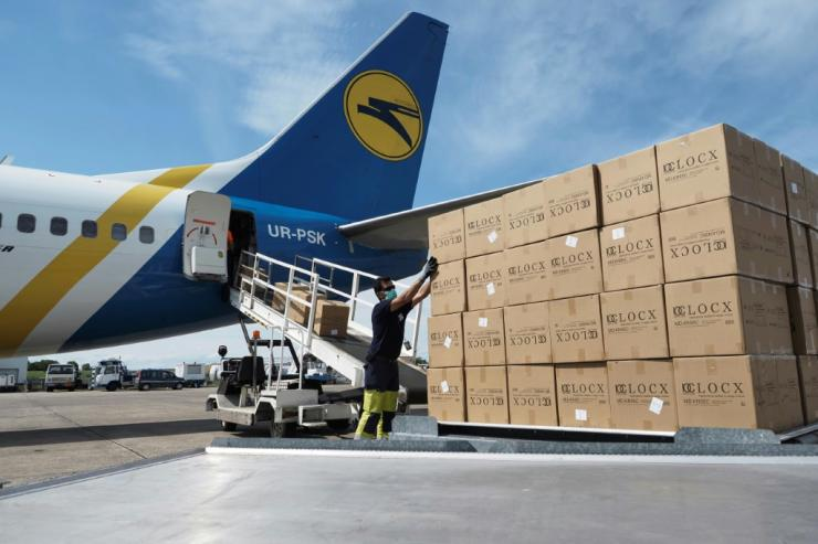 The airport has become a big hub for anti-coronavirus mask deliveries