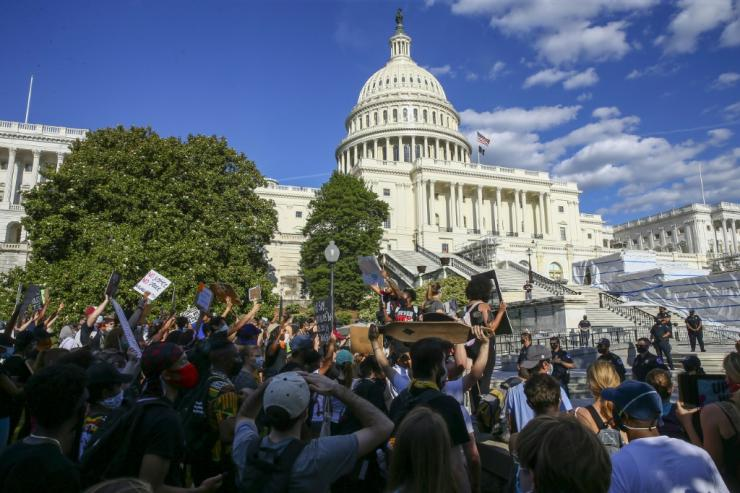 Protesters at the US Capitol in Washington