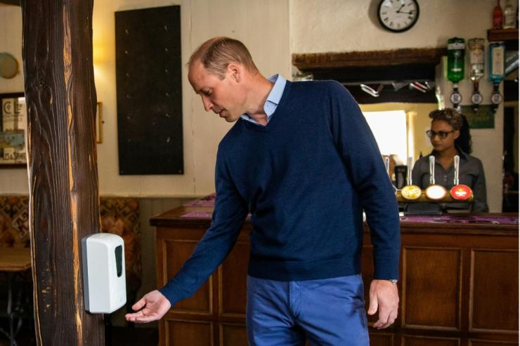 Britain's Prince William dutifully used hand sanitiser during a visit to a pub