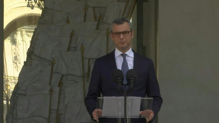 IMAGES The Secretary General of the Presidency of the French Republic, Alexis Kohler, announces the names of the new ministers of prime minister Jean Castex's government. Gérald Darmanin takes over the ministry of the interior, thus succeeding ousted Chr