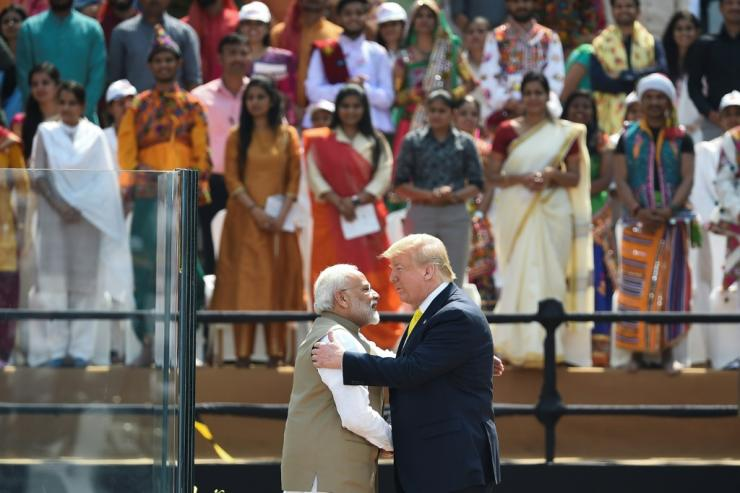 India's Prime Minister Narendra Modi embraces US President Donald Trump turning a February 2020 rally in the Indian leader's home state of Gujarat