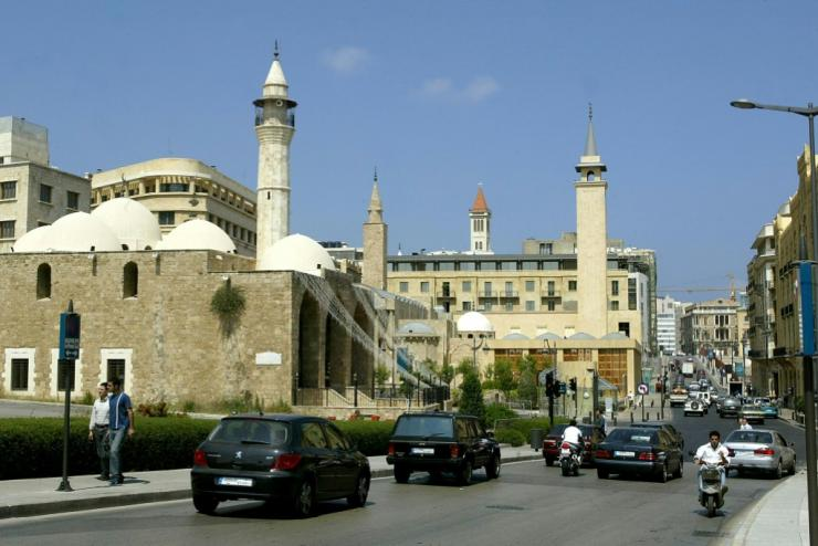 A 2004 file photo of Beirut's Al-Omari Grand Mosque